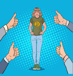 Pop art woman wearing in t-shirt with bitcoin vector