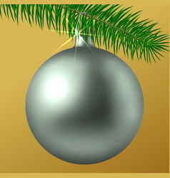 Realistic silver matte christmas ball or bauble vector