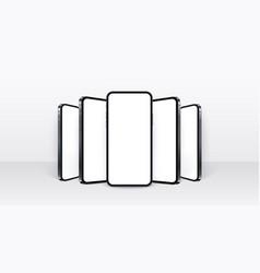 Realistic smartphone mockup black mobiles set vector