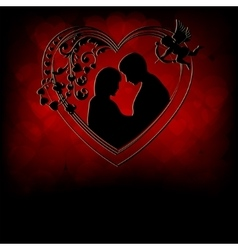 Red backgroundsilhouettes of two lovers vector