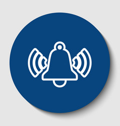 ringing bell icon white contour icon in vector image