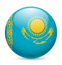 Round glossy icon of kazakhstan vector image