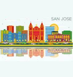san jose skyline with color buildings blue sky vector image