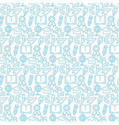 seamless pattern with icons education items vector image