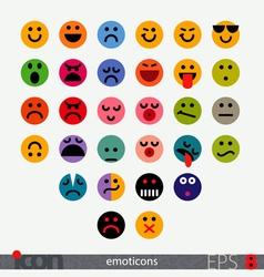 set fully geometric emoticons vector image