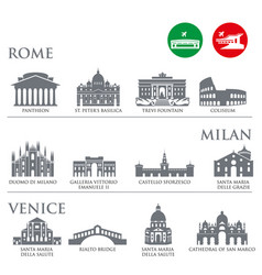 Set of italy symbols landmarks in gray color vector