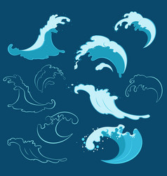 set sea waves different shapes vector image