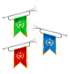 silver trumpets with royal symbolics - fanfare vector image