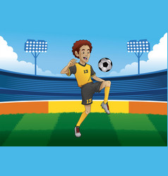 soccer player juggling ball in soccer stadium vector image