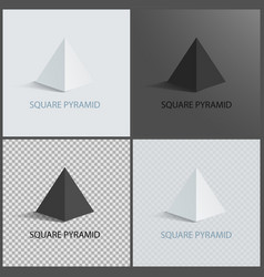 Square pyramid set on dark light and transparent vector