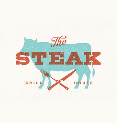 Steak cow poster for grill house vector