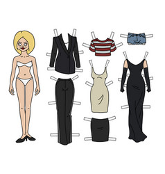 The blonde paper doll vector