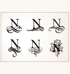 vintage set capital letter n for monograms and vector image