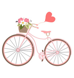 vintage wedding bicycle with heart baloon and vector image