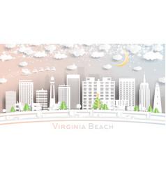 virginia beach city skyline in paper cut vector image
