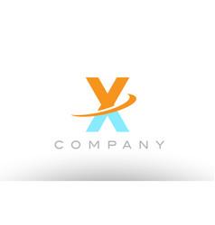 x orange blue logo icon alphabet design vector image