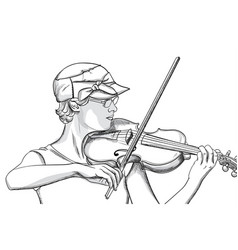 Young woman with glasses and hat playing o violin vector