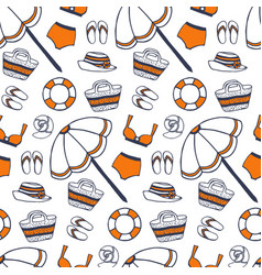 beach summer pattern in vintage style vector image
