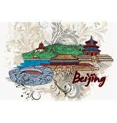 beijing doodles with floral vector image vector image