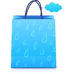Blue shopping bag with rain pattern vector image vector image