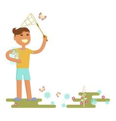 boy is catching butterflies vector image