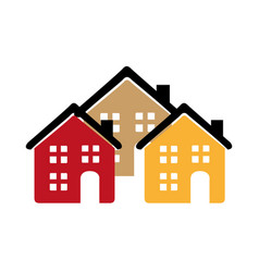 color silhouette with group of houses vector image