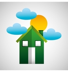 environment house cloud and sun icons vector image
