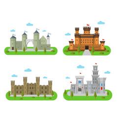 medieval castles fortresses in a flat style vector image vector image