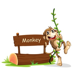 A smiling monkey beside a signage vector image