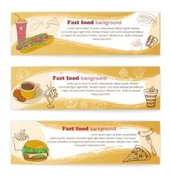 Banner set of vintage fast food backgrounds vector image