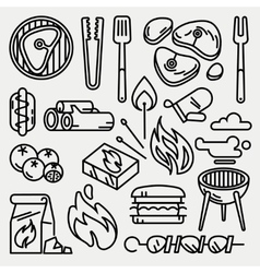 Barbecue and grill thin line icons vector image