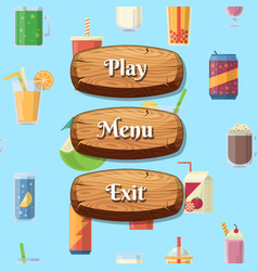 cartoon style wooden buttons with text for vector image vector image