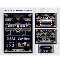 Gatsby Art Deco Wedding Invitation Design vector image vector image