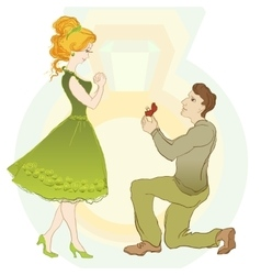 Marriage Proposal Man Give Ring To His Girl vector image vector image