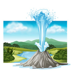 scene with hot spring and river vector image vector image