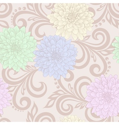 seamless pattern with dahlia flowers and swirls vector image