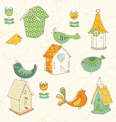 bird houses doodles vector image vector image