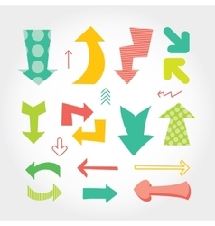 Hand drawn set of colorful arrows different forms vector image
