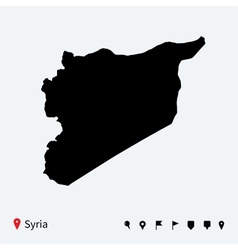 High detailed map of Syria with navigation pins vector image vector image