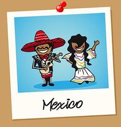 Mexico travel polaroid people vector image vector image