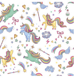 seamless pattern of unicorn clouds vector image vector image