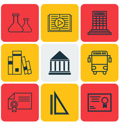 set of 9 education icons includes taped book vector image vector image
