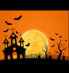halloween spooky night background with castle and vector image vector image