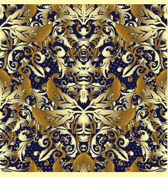 3d gold baroque seamless pattern vector image