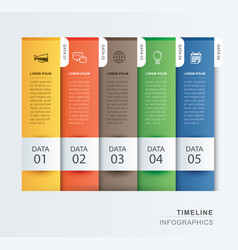 5 data infographics tab paper index template vector