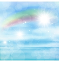 Abstract image of a rainbow on blue sky with sun vector image