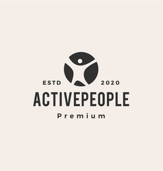 active people hipster vintage logo icon vector image