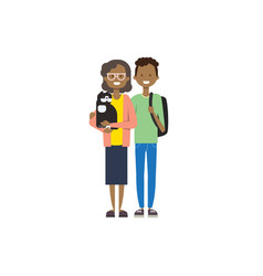 African parents with pets couple full length vector