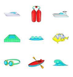 Aquatory icons set cartoon style vector