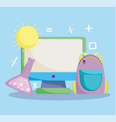 back to school computer backpack chemistry test vector image